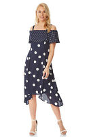 Roman Originals Womens Polka Dot Cold Shoulder Dress