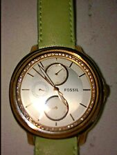 FOSSIL PREOWNED MULTI-DIAL LADIES WATCH NICE LEATHER STRAP NEED BATTERY