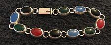 "Sterling Silver ~19 gram Multi Colored Oval Stones Bracelet 7.5"""