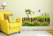 6900081 | Wall Stickers Fairy Garden Bird House Flowers And Butterflies