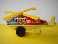 ND Jouets Japon Tôt 1970s Litho Fer Blanc Friction Feu Secours Hélicoptère
