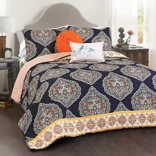 KING Size Bohemian NAVY La Boheme 5 pc Quilt Set REVERSIBLE Washable Bedding