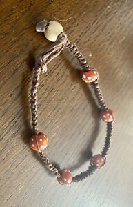 Handmade Hemp Cord Macrame Anklet With Wooden Beads