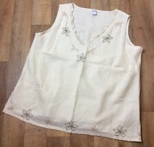 100% Linen Size 20 Womens Cream Tan Flower Sleeveless Top Cruise Holiday