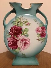 La Belle China Vase Teal Green W/Pink Flowers Marked Wp Wheeling Pottery 1800's