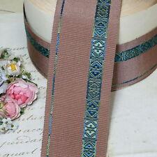 1y Taupe Fancy French Grosgrain Ribbon Trim Art Deco Nouveau Flapper Cloche Hat