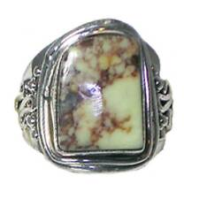 CREAMY DENDRITE STONE_HAND TOOLED RING_SZ-7.5_925 STERLING SILVER_NF
