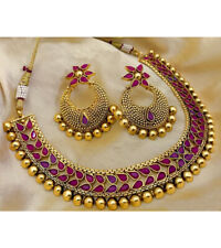 Indian Bollywood Choker Copper Necklace Wedding Gold Plated Red Fashion Jewelry