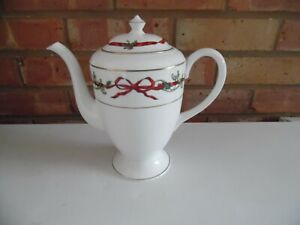 Royal Worcester Coffee Pot - Holly Ribbons - Made In England