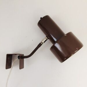 Vintage Portable Desk Bed Table Lamp Wall Hung or Slide-On Brown Tested Working