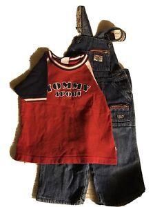 Vintage Toddler Size 2 Tommy Hilfiger Sport Short Sleeve Shirt Radio Flyer Jeans