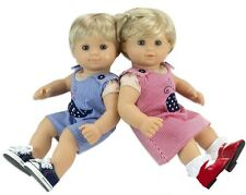 "Both Boy and Girl Whale Stripe Outfits for Bitty Baby Twins 15"" Doll Clothes"