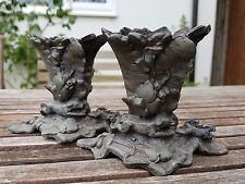Due CAST METAL Zinco IN PANI fuoriuscita VASI PORTAFIAMMIFERI cane da caccia Coniglio e lepre