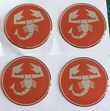 FIAT 500 595 ABARTH SCORPION ALLOY WHEEL CENTRE CAP STICKERS DOMED X4 55mm RED C