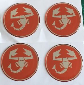 FIAT 500 595 ABARTH SCORPION ALLOY WHEEL CENTRE CAP STICKERS DOMED X4 50mm RED C