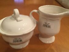 Mikasa French Countryside F-9000 Sugar Bowl with  Lid and Creamer Set White.