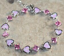 Silver Elegant Pink Fire Opal & Pink Kunzite Bracelet WB 20704