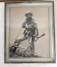 Vintage Photo Black & White Mountain Man Frontiersman Shooting Rifle Gun Hunter