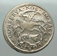 1764 SWITZERLAND Swiss Canton of BASEL Old DRAGON 1/3 Thaler Silver Coin i84951