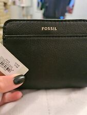 Fossil Evelyn Black Leather Zipped Bifold Compact Wallet/Purse New