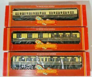 Rake of3 Hornby OO Clerestory Coaches GWR Chocolate & Cream 3rd, 2nd/3rd& Brake