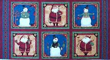 Teresa Kogut Wintertime Friends 6 Block Fabric Panel Santas Snowmen