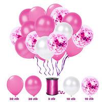 63 tlg. Konfetti Luftballon Party Set Pink Geburtstag Party Hochzeit JGA Rosa