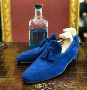 Handmade Mens Blue Suede Tassels shoes, Blue suede leather moccasins shoes