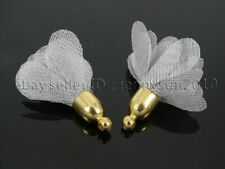 10Pcs Gray Chiffon Flower Tassel 26mm Gold Plated Pendant Jewelry Crafts