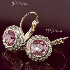 EARRINGS 9K GF 9CT GOLD PINK CLEAR MADE WITH SWAROVSKI CRYSTAL SUPER SPARKLING