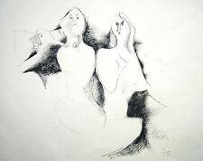 Hella Jacobs 1905-1974 Hamburg Tuschezeichnung surreale Frauendarstellungen 1968