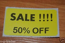 LOT 100 YELLOW SALE 50% OFF  Price Labels Stickers Tags Retail Store 2X1 INCH