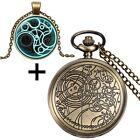 Vintage Steampunk Doctor Who Style Necklace Quartz Pocket Watch Set+ Gift Box