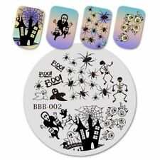 Nail Art Stamping Plate Image Halloween House Spider Web Cat Tree Eye (BBB02)