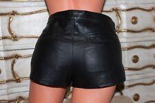 TOPSHOP Black PVC Faux Leather Ladies Low Rise Shorts Hot Pants size 12