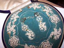Antique 1900s Victorian SEED PEARL NECKLACE Earings Set Blue Velvet Case 18K