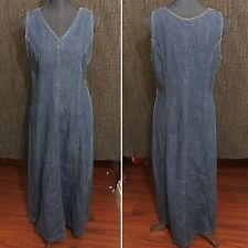 Vtg Laura Ashley Denim Maxi Full Length Dress Size 8 1990s Retro Jean Dress
