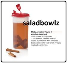 TUPPERWARE MODULAR MATES ROUND 3 with DRIP-LESS POUR SEAL Popsicle Red fREEsHIHP