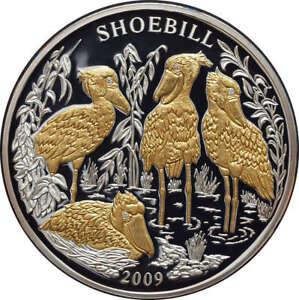 Rwanda - 1000 Francs 2009 - Shoebill - 3 oz Ag 999 with diamonds