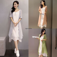 Vintage Women Cotton Linen Summer Loose Slim Dress Sundress + Cardigan Green 2XL
