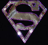 Superman Girl bling Sequins No rhinestones transfer Iron On Hot fix applique
