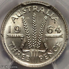 1964m Australian Threepence 3D MS67 Australian pre-decimal currency