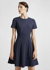 Theory Modern Seamed Linen Blend Shift Dress Organic Crunch Wash Navy 2
