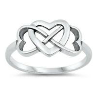 Sterling Silver 925 INFINITY HEART LOVE DESIGN PROMISE RING SIZES 4-10