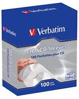 NEW Verbatim CD Paper Sleeves with Clear Window – 100 Pack  Space-saving STORAGE