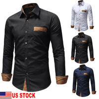 Men Casual Formal Shirts Business Dress Wedding Long Sleeve Slim Fit Pocket Top
