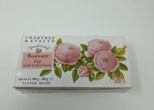 1995 Crabtree & Evelyn Vintage Rosewater Soap With Cold Cream Set of 3 OPEN BOX