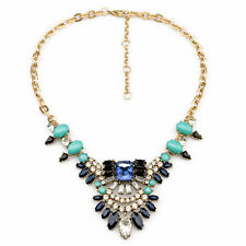 Blue Bling Crystal Rhinestone Cluster Floral Bronze Choker Bib Necklace Chain