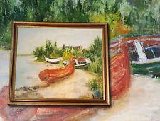 Botes de remos la mayor parte Playa. Orig. antiguo Impresionista Pintura al óleo