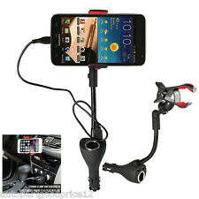 3in1 Car Smartphone Mount 360° Rotable Holder Dual USB Charger Port Power Outlet